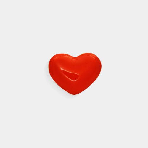 Rosanna Cattolico - Mono orecchino in oro giallo e cuore smaltato rosso