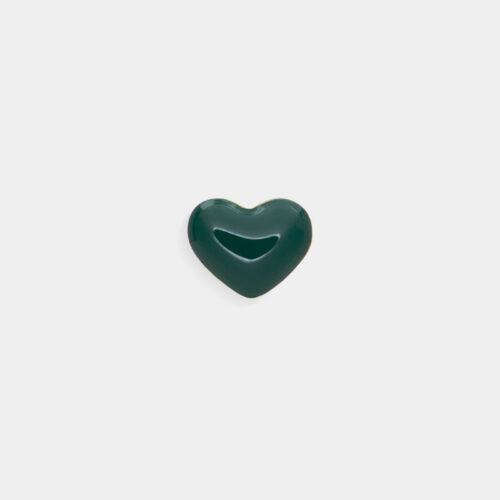 Rosanna Cattolico - Mono orecchino in oro giallo e cuore smalto verde intenso