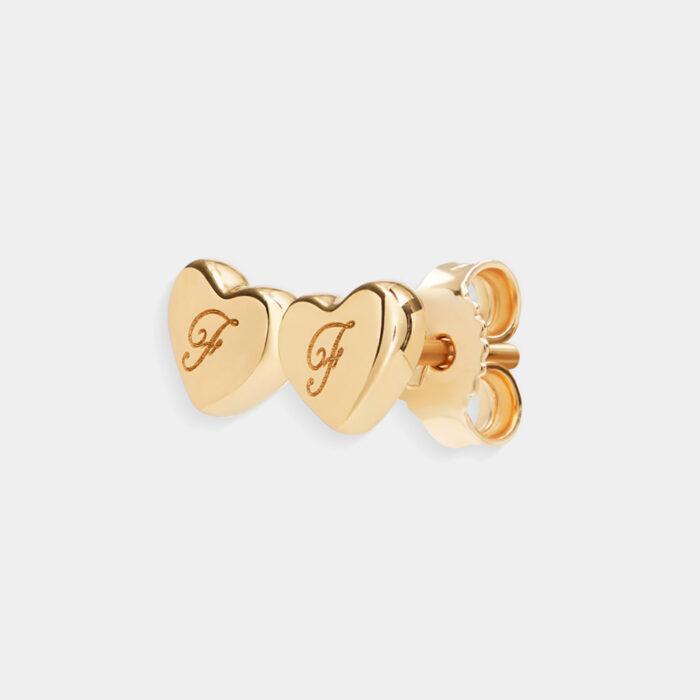 Rosanna Cattolico - Mono orecchino double hearts in oro giallo personalizzabile con iniziali incise