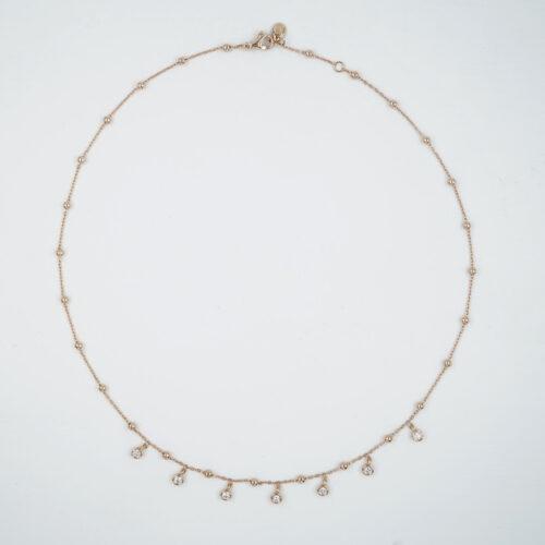 Crivelli – Collana girocollo in oro rosa con diamanti bianchi