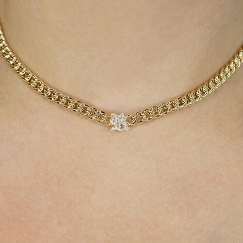 Rosanna Cattolico - Collana groumette in oro giallo e lettera gotica in diamanti
