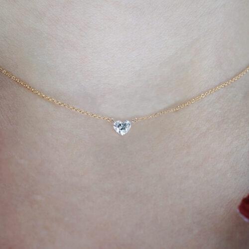 Crivelli - Collana pendente in oro rosa con diamante taglio cuore