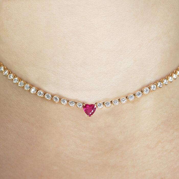 Crivelli - Girocollo in oro rosa con diamanti e rubino centrale taglio cuore
