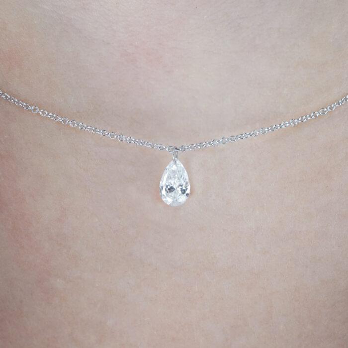 Crivelli - Collana pendente in oro rosa con diamante taglio goccia