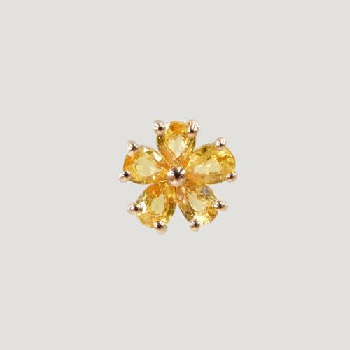 Crivelli - Mono Orecchino in oro rosa con fiore in zaffiri giallo taglio goccia