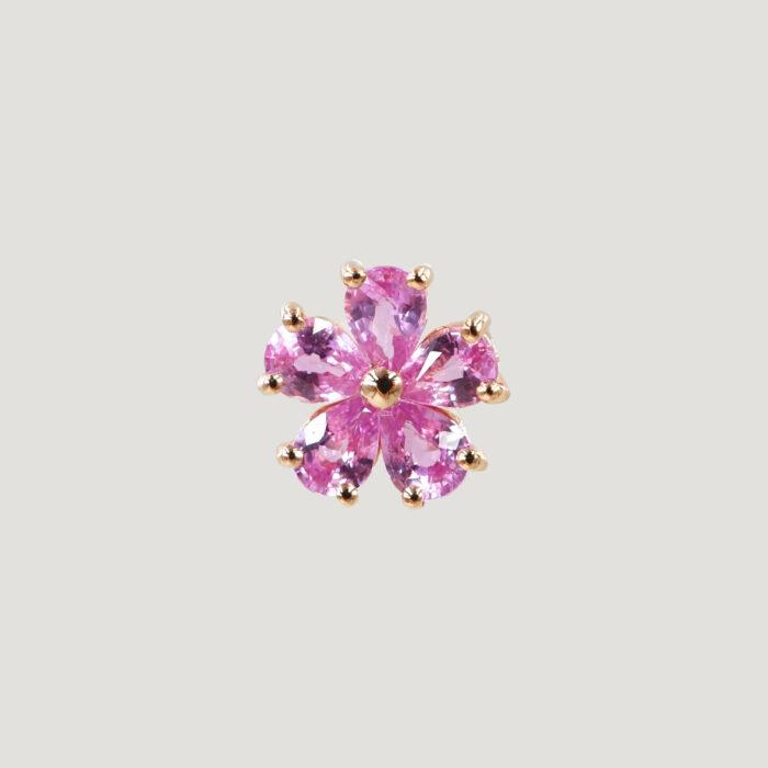 Crivelli - Mono Orecchino in oro rosa con fiore in zaffiri rosa taglio goccia