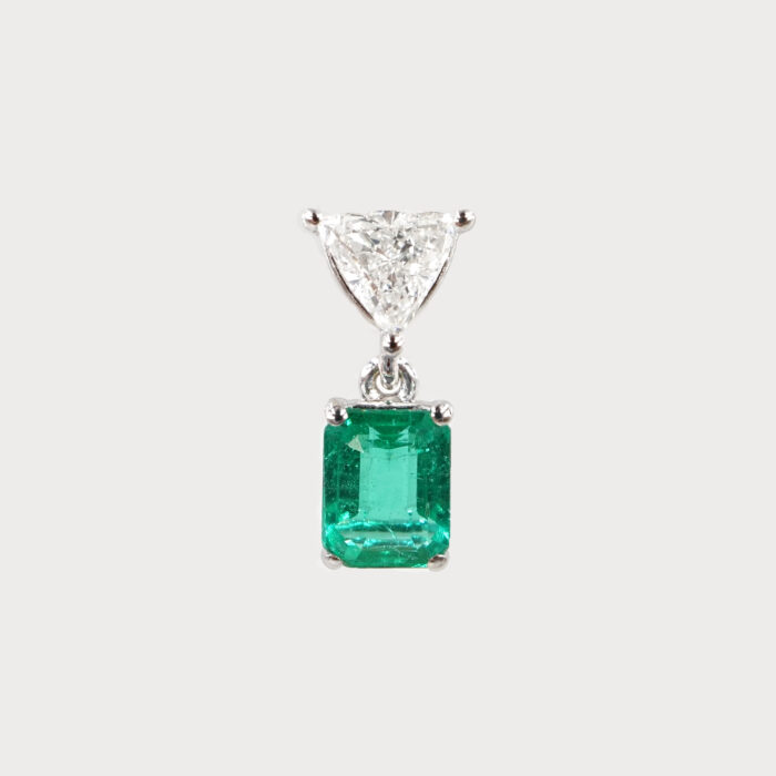Rosanna Cattolico - Mono Orecchino in oro bianco con diamante taglio triangolo e smeraldo taglio ottagonale