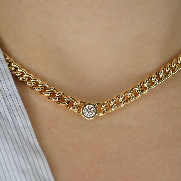 Rosanna Cattolico - Collana groumette in oro giallo con diamante centrale