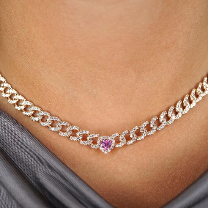 Crivelli - Crivelli - Collana groumette in oro rosa e diamanti con zaffiro rosa centrale in giro di diamanti